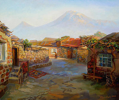 Painting - Mountain Ararat And The Old Part Of Yerevan. by Meruzhan Khachatryan