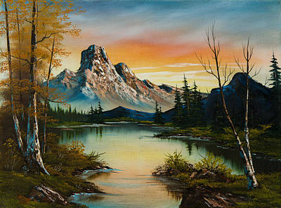 Sawtooth Mountain Art Painting - Sunset Lake by C Steele