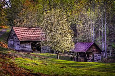 Mountain Barns In North Carolina Print by Debra and Dave Vanderlaan