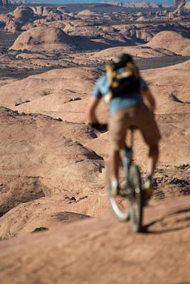 Slickrock Photograph - Mountain Biker, Moab, Utah by Whit Richardson