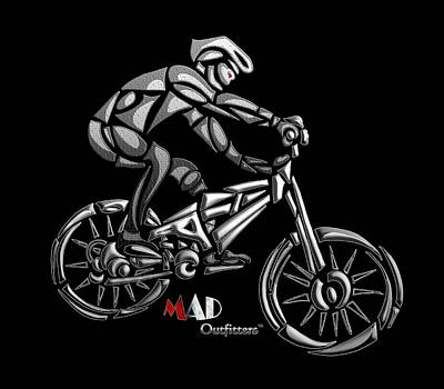 Mountain Biking Abstract Surreal Design Biker By Mad Outfitters Art Print