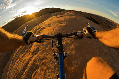Slickrock Photograph - Mountain Biking In Moab, Utah by Whit Richardson