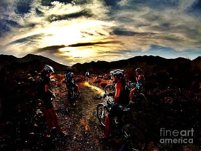 Mountain Biking Ladies Art Print by Scott Allison