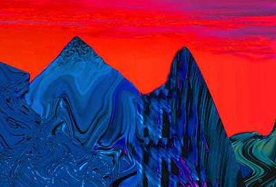 Mindscape Digital Art - Mountain Blue by Phillip Mossbarger