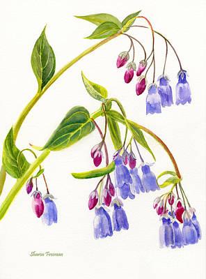 Mountain Bluebells Vertical Design Art Print by Sharon Freeman