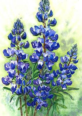 Painting - Mountain Blues-colorado Lupine by Barbara Jewell