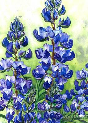 Art Print featuring the painting Mountain Blues Lupine Study by Barbara Jewell