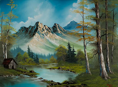 Sawtooth Mountain Art Painting - Mountain Retreat by C Steele