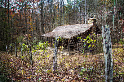 Barn In The Woods Photograph - Mountain Cabin by Debra and Dave Vanderlaan