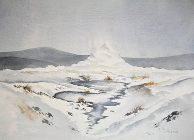 Infinity Pool Painting - Mountain Cairn In Snow by Super Cosmic