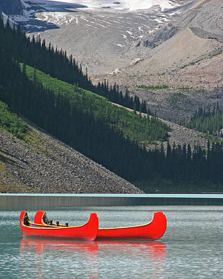 Mountain Canoes Art Print