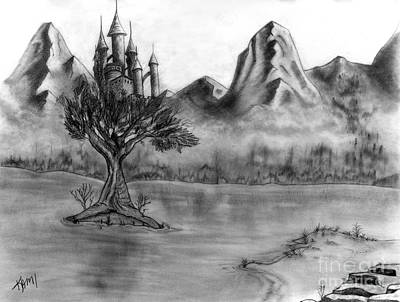 Drawing - Mountain Castle by Kami Catherman