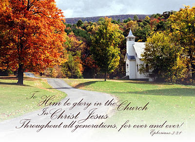 Photograph - Mountain Church Bible Verse by Tom Brickhouse