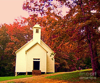 Albert Bierstadt - Mountain Church in Fall by Desiree Paquette
