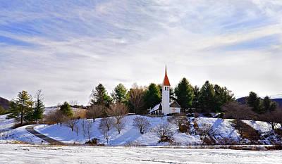 Mountain Church In Winter Art Print by Susan Leggett