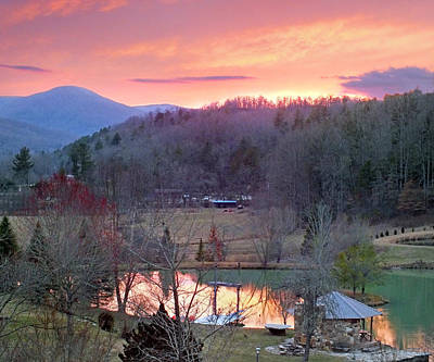Photograph - Mountain Country Farm With Ponds At Sunset by Duane McCullough