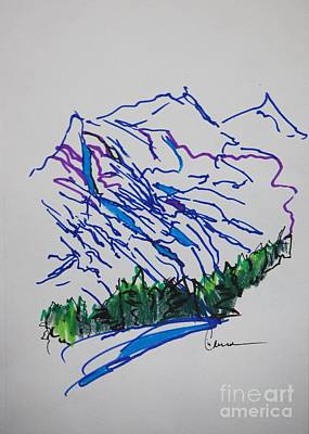 Mountainous Mixed Media - Mountain Drawing In Ink by Lisa Carroccio