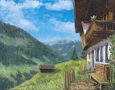 Painting - Mountain Farm In Austria by Marco Busoni