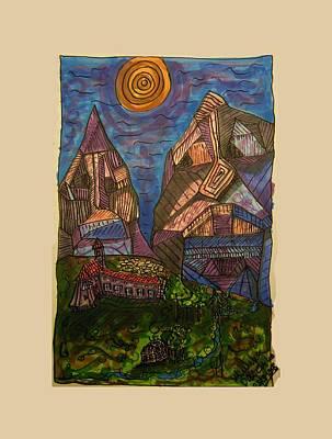 Mountain Folk Art Print by Mimulux patricia no No