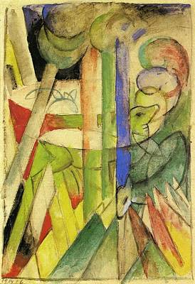 Mountain Goat Painting - Mountain Goats 1914 by Franz Marc