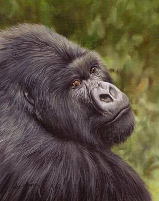 Gorilla Painting - Mountain Gorilla Painting by David Stribbling