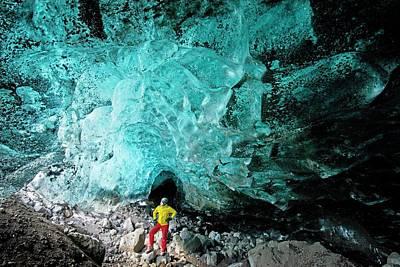 Mountain Guide Under A Glacier Art Print by Jeremy Walker