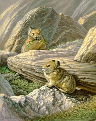 Mountain Haymakers - Pika Art Print by Paul Krapf