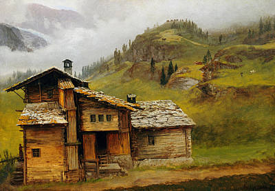 Log Cabin Art Painting - Mountain House  by Albert Bierstadt