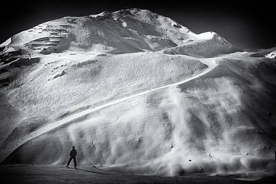 Tons Of Photograph - Mountain In Winter In Austria Black And White by Matthias Hauser