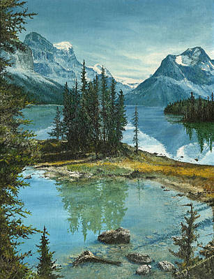 Rocky Mountain National Park Painting - Mountain Island Sanctuary by Mary Ellen Anderson