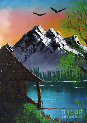 Mountain Lake Cabin W Eagles Art Print