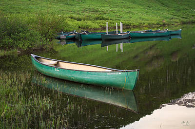Green Photograph - Mountain Lake Canoe by Aaron Spong