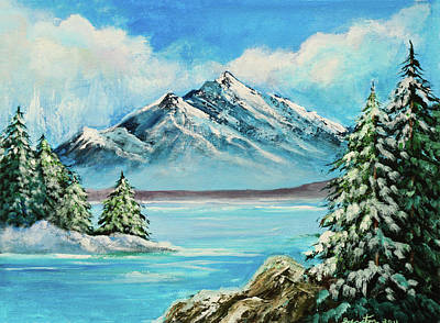 Mountain Lake In Winter Original Painting Forsale Art Print by Bob and Nadine Johnston