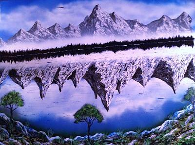 Art Print featuring the painting Mountain Lake by Michael Rucker