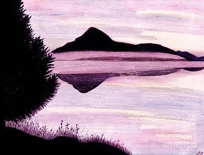 Sunset Drawing - Mountain - Lake - Sunset by D Hackett