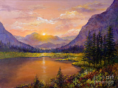Painting - Mountain Lake Sunset by Lou Ann Bagnall