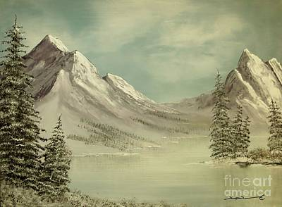 Mountain Lake Winter Scene Art Print