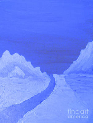 Mountain Landscape Blues Art Print