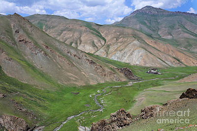 Mountain Landscape In The Tash Rabat Valley Of Kyrgyzstan Art Print by Robert Preston