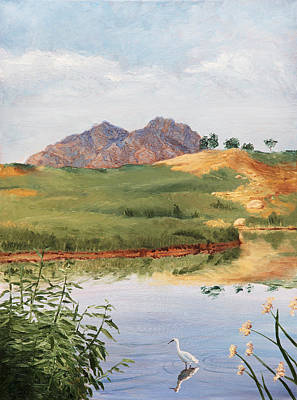 Mountain Landscape With Egret Art Print