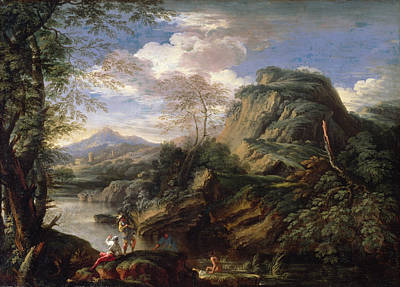 Arcadia Painting - Mountain Landscape With Figures by Salvator Rosa
