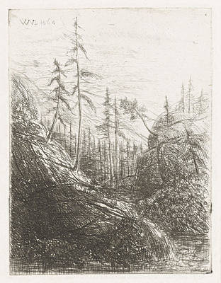 Pine Trees Drawing - Mountain Landscape With Pine Trees And Brook by Artokoloro