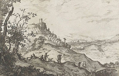 Herding Dog Drawing - Mountain Landscape With Walkers And Shepherds by Claes Jansz. Visscher (ii)