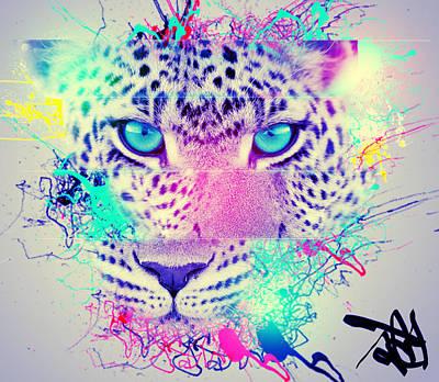 Creative Manipulation Mixed Media - Mountain Lepord Paint Splash  by Danny Preston