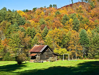 Art Print featuring the photograph Mountain Log Home In Autumn by Susan Leggett