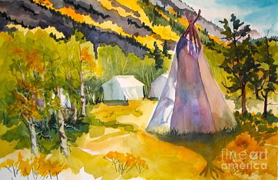 Painting - Mountain Man Celebration Cardinal Village Resort by Pat Crowther