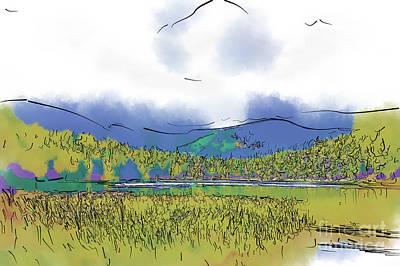Digital Art - Mountain Meadow Lake by Kirt Tisdale