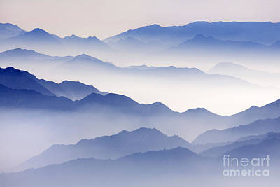 Anhui Photograph - Mountain Mist In Blue by King Wu