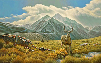 Mule Painting - Mountain Muley by Paul Krapf