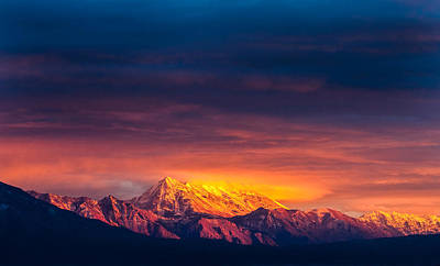 Mountain On Fire Art Print by Peter Irwindale